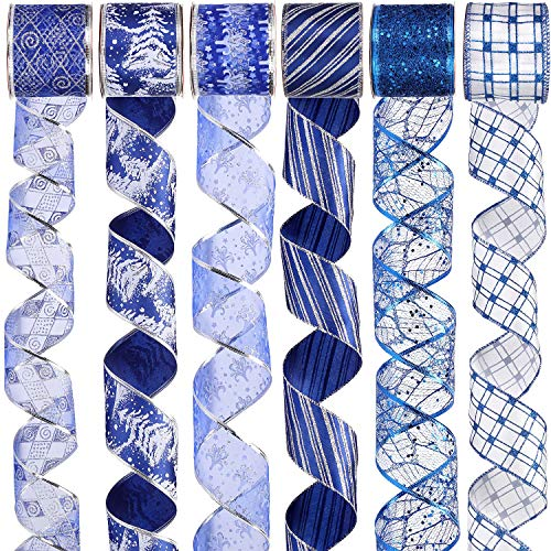 Sea Team 12-Pack Swirl Wired Glitter Ribbons for Christmas Decoration, 2.36-Inch by 3-Yard Spool, Blue
