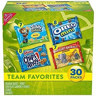Nabisco Team Favorites Variety Pack, OREO Mini, CHIPS AHOY! Mini, Teddy Grahams Honey & Barnum's Animal Crackers, Halloween Treats, 30 - 1 oz Packs