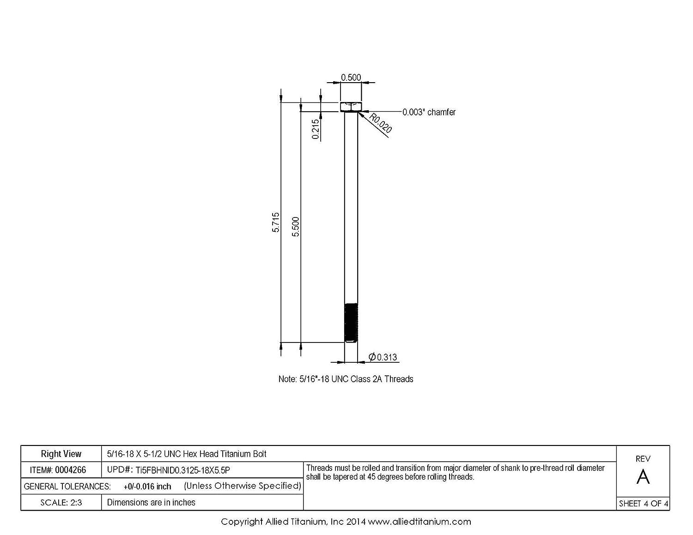 5//16-18 X 5-1//2 UNC Titanium Hex Head Bolt Ti-6Al-4V Grade 5 Pack of 2 Allied Titanium 0004266,