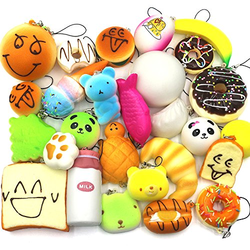 Squishy Mushy Squishies : Trasfit 10 Pieces Random Squishy Charms Kawaii Soft Foods Jumbo Squishies