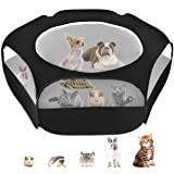 Small Animal Cage Playpen, Pet Playpen with Top Cover Anti Escape Foldable Breathable Transparent Yard Fence for Dog Cat…