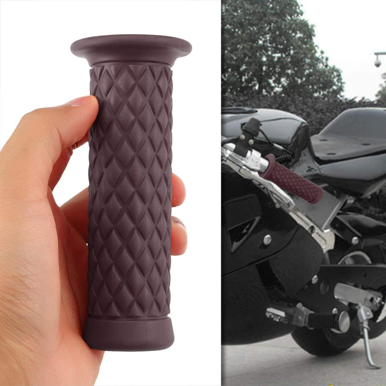 1 Para 22mm Universal Motorrad Handgriffe Rutschfeste Sport Gummi Lenker Griff Bar Ende Motorrad Bike Cafe Racer DEjasnyfall braun
