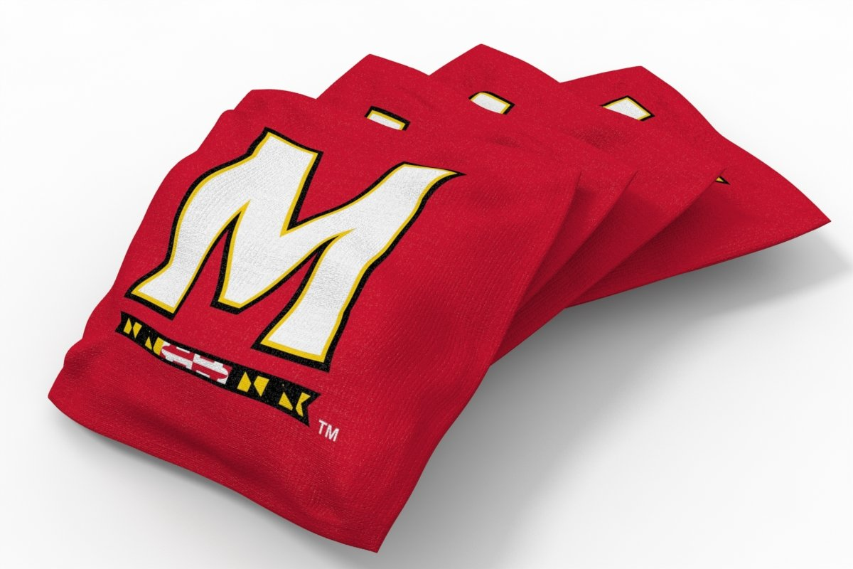 Wild Sports NCAA College Maryland Terrapins Red Authentic Cornhole Bean Bag Set (4 Pack)