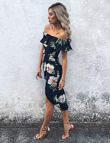 ZLL Moulante Gaine Robe Femme Sortie Décontracté / Quotidien Vacances Sexy Vintage Chic de Rue,Fleur Bateau Asymétrique Sans Manches Polyester , m