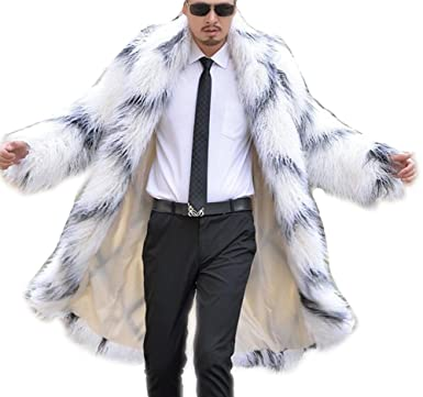 2d8bf54c050a Mens Classic Shaggy Maxi Faux Fur Trench Coat Long Color-block Fake Hair  Outwear S