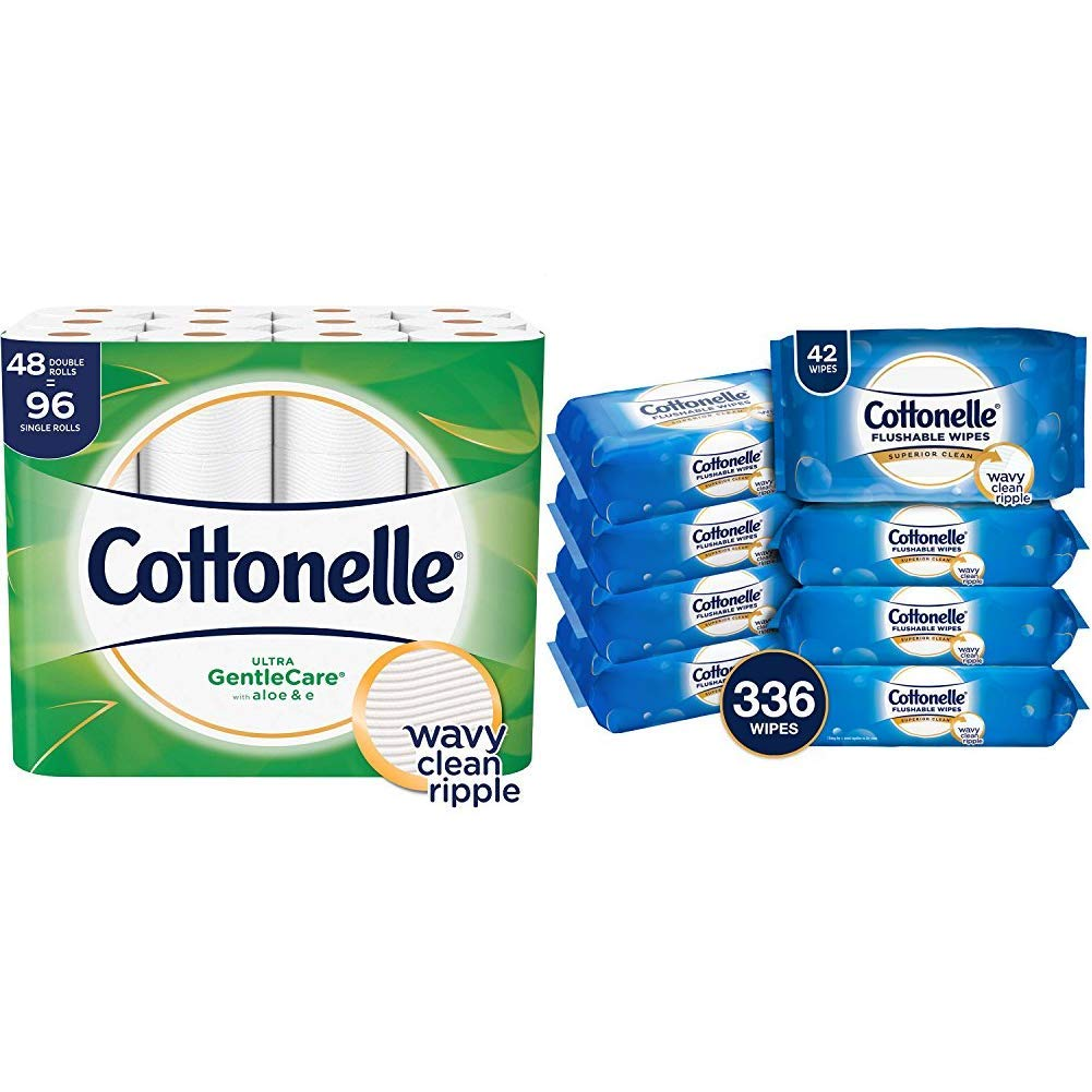 Cottonelle Ultra GentleCare Toilet Paper, Aloe & Vitamin E, 48 Double RollsAND Cottonelle FreshCare Flushable Wipes for Adults, Eight 42-Count Resealable Soft Packs by Cottonelle