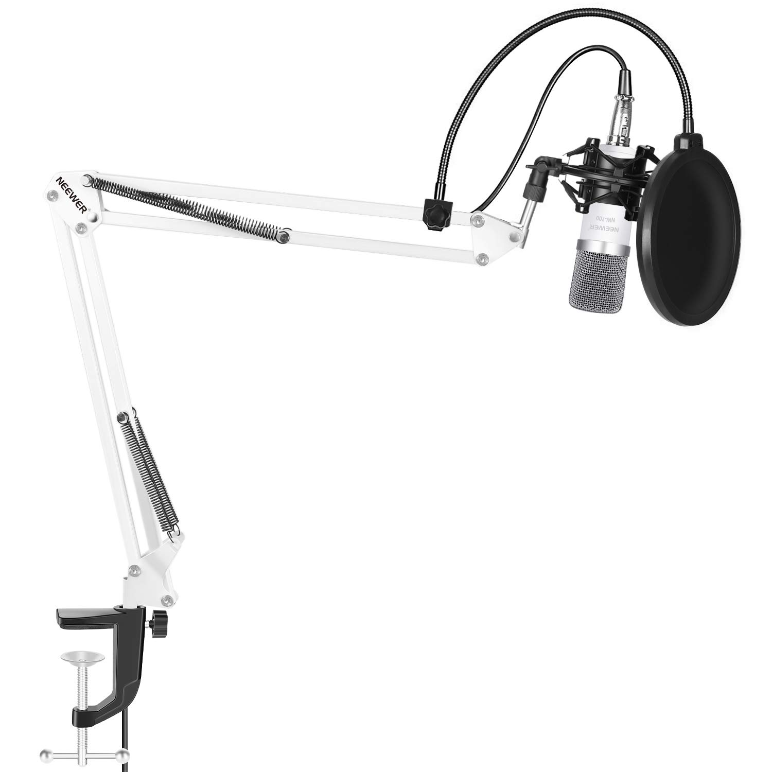 Neewer NW-700 Microphone Kit,includes:(1) Condenser Microphone + (1) Microphone Suspension Scissor Arm Stand with Mounting Clamp+(1) Pop Filter+(1) Shock Mount(White) by Neewer (Image #1)