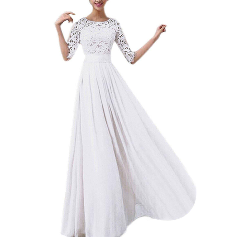 wedding dress - SODIAL (R) Chiffon lace Wedding Dress Ball Gown Prom Dress wedding dress white M SODIAL(R) 047481A2