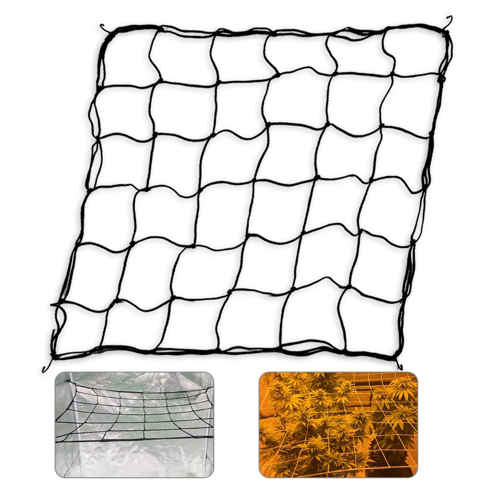 Flexible Net Trellis for Grow Tents, Fits 4x4 and More Size, Includes 4 Steel Hooks, 36 Growing Spaces