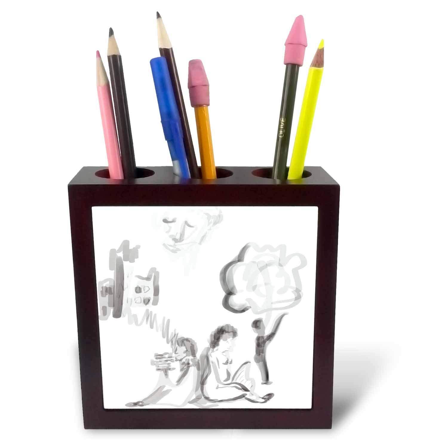 3dRose Lasha Beraia - Minimalist - Movie Makers - 5 inch Tile Pen Holder (ph_288696_1)