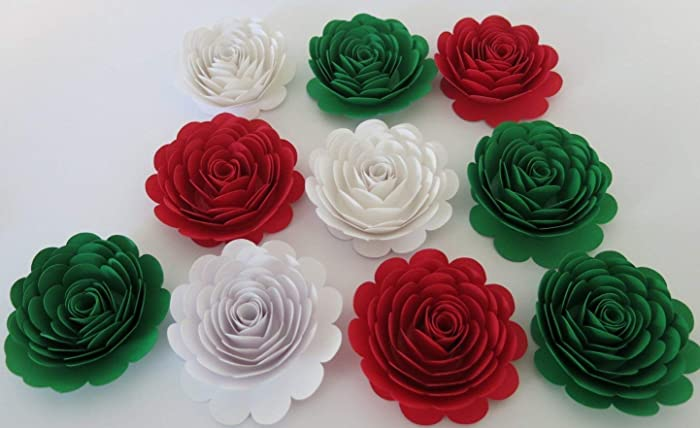 Amazon mexican american wedding decorations 10 large red white mexican american wedding decorations 10 large red white green roses italy flag colors 3quot mightylinksfo