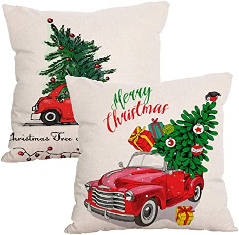 Amazon Com Christmas Pillow Covers 18 X 18 Inch Outdoor Decorative Pillows With Christmas Tree And Vintage Red Truck Pattern Cotton Linen Home Decoration Throw Pillow Case Home Kitchen