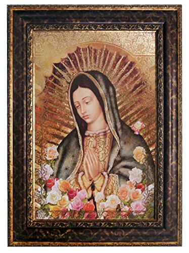 Mary Gold Flower - Our Lady of Guadalupe, Virgin Mary Gold Floral 19 1/2 x 27 1/2 Framed Poster Burgundy Gold Floral Frame(J1-1022)