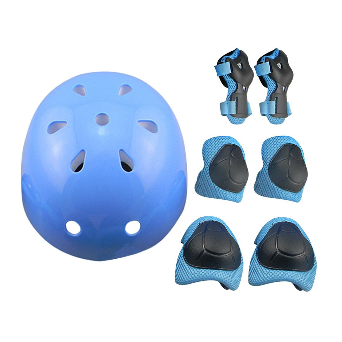 7Pcs Kids Sports Safety Protective Gear Set, RuiyiF Elbow Pad Knee Support Wrist Guard and Helmet for Children Skateboard Skating Blading Cycling Riding - Blue