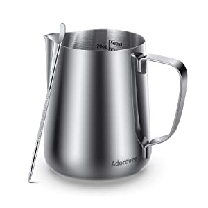 Milk Frothing Pitcher 600ml/20oz Steaming Pitchers Stainless Steel Milk Coffee Cappuccino Latte Art Barista Steam Pitchers Milk Jug Cup with Decorating Art Pen, Sliver