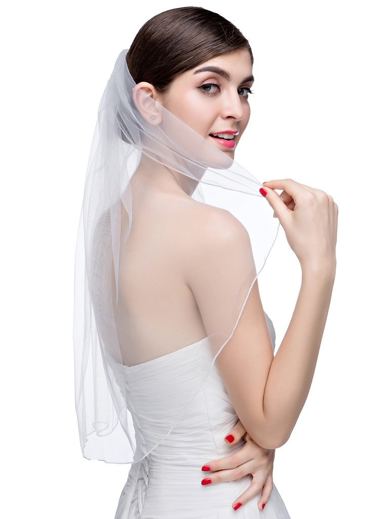 VERNASSA Fashion One Layer Short Tulle Bridal Veil with Comb Wedding Veils,Ivory,Free Size