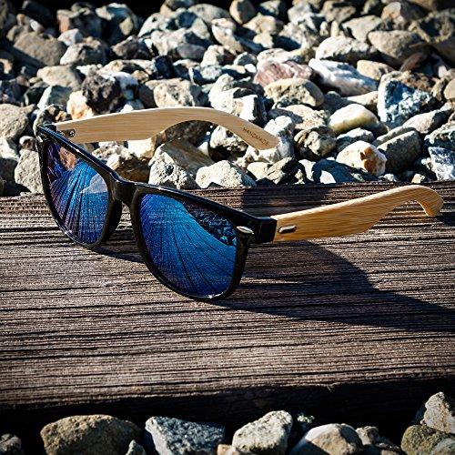 Oct17 Wood Bamboo Wooden Vintage Sunglasses Eyewear for Mens Womens (Black, Green - Vanquish Glasses Sun
