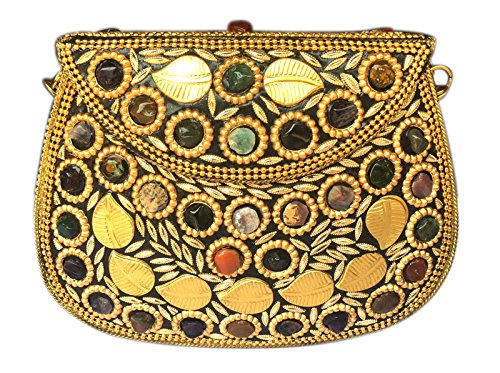 Batu Lee Stylish Handmade Antique METAL, BEADS & LAC WORK Clutch hard Handbag with Golden Chain Multi Elipse Shape for Women ()