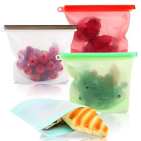 Smyidel Bolsas de Silicona Reutilizables Grado Alimenticio para Frutas,Verduras, Sin BPA, Prueba de Fugas,Seguro de Usar en lavavajillas, microondas y ...