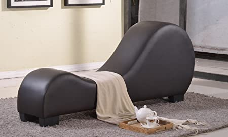 US Pride Furniture Faux Leather Stretch Chaise Relaxation and Yoga Chair, Dark Chocolate
