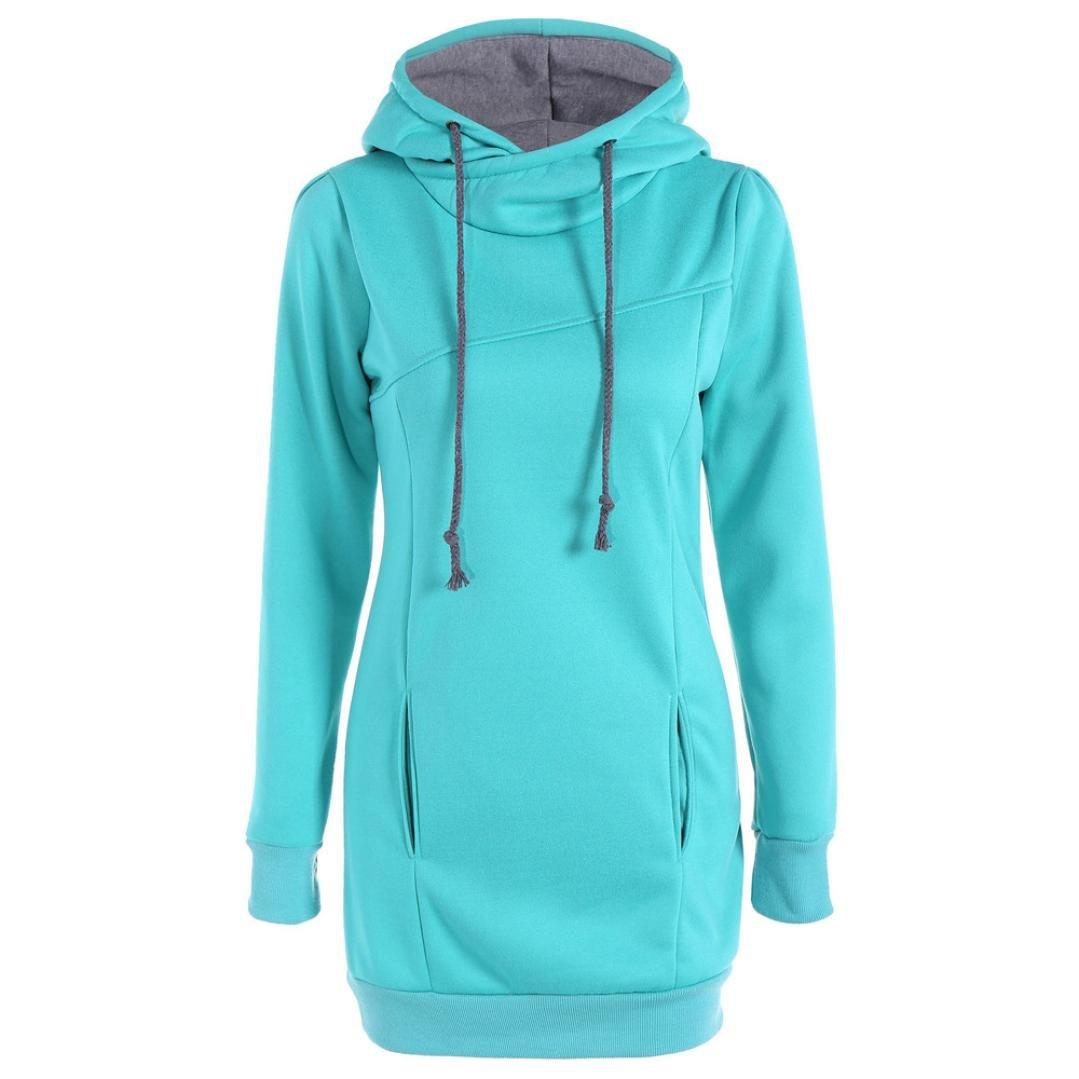 Gillberry Fashion Women Loose Pullover T Shirt Long Sleeve Blouse Hoodies (XXXXL, Sky Blue)