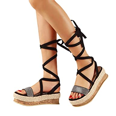 c3fb603d0360 Womens Flatform Cork Espadrille Wedge Heel Peep Toe Slingback Sandals Ankle  Lace Up Shoes (US