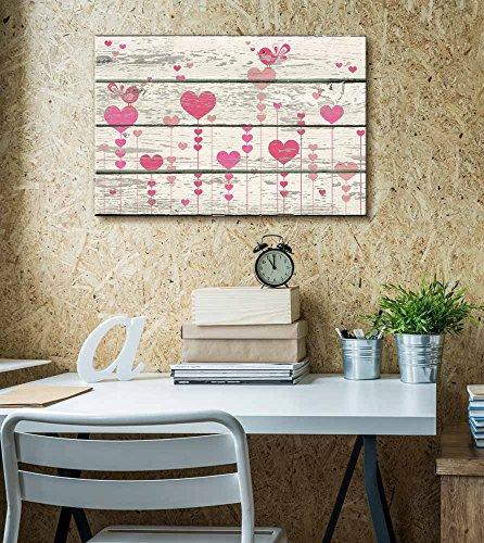 Cartoon Pink Hearts and Birds Singing Artwork Rustic