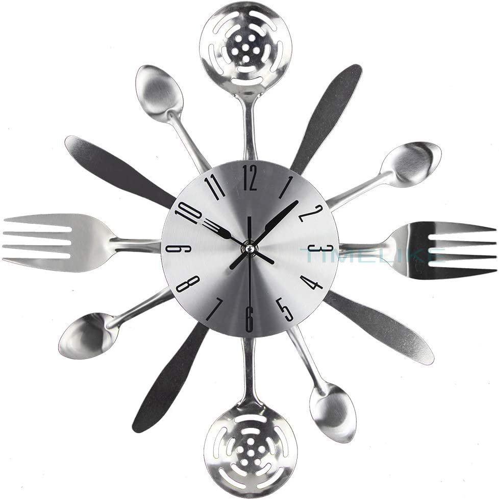 "14"" Kitchen Cutlery Wall Clock with Spoons Forks and Knife 3D Modern Wall Clock for Home Decor and Nice Gifts"