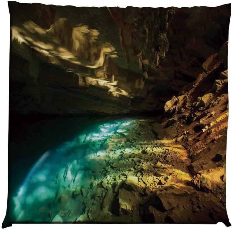 YOLIYANA Natural Cave Decorations Durable Square Chair Pad,Inside The Volcanic Cave with Hot Thermal Water Near Northern Iceland View for Bedroom Living Room,One Size
