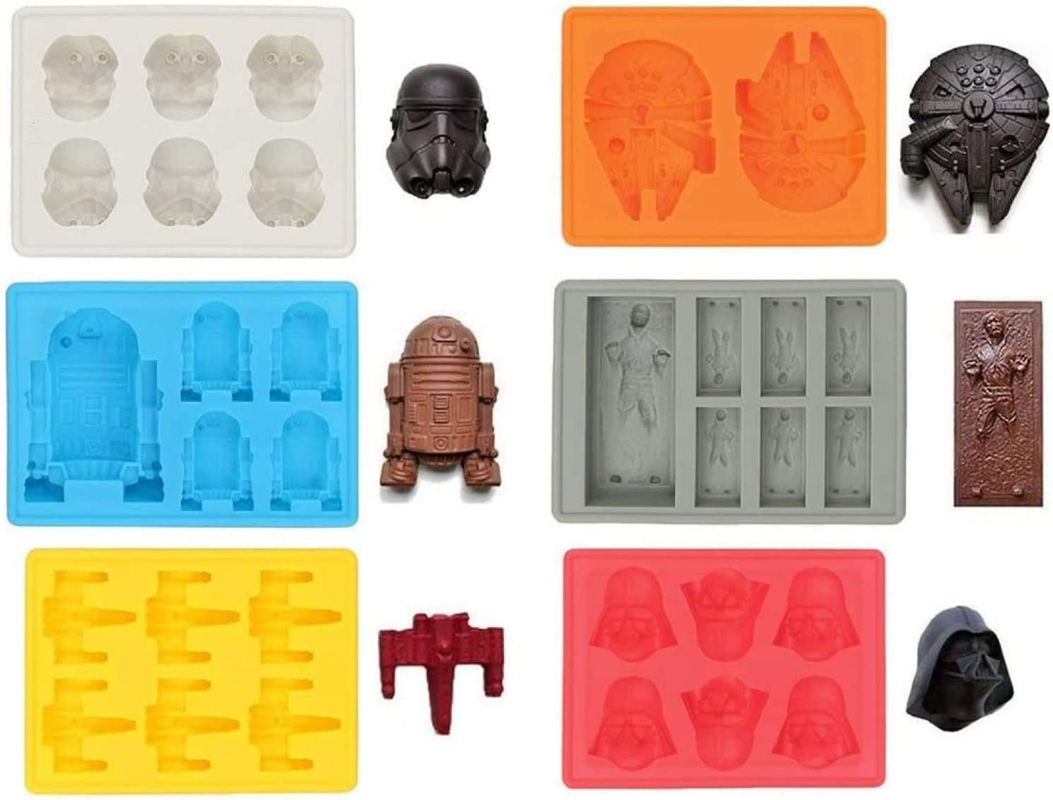 Set of 6 Star Wars, Silicone Ice Tray Molds in Star Wars Shapes, Ideal for Chocolate, Ice, Jelly, Sweets and Desserts. Molds: Stormtrooper, Darth Vader, X-Wing, Millennium Falcon, R2-D2, Han Solo.
