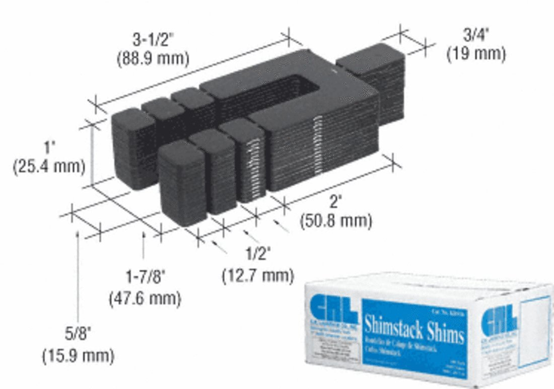 CRL 1/16'' x 3-1/2'' Shimstack Shims - Case of 1000 by CR Laurence (Image #1)