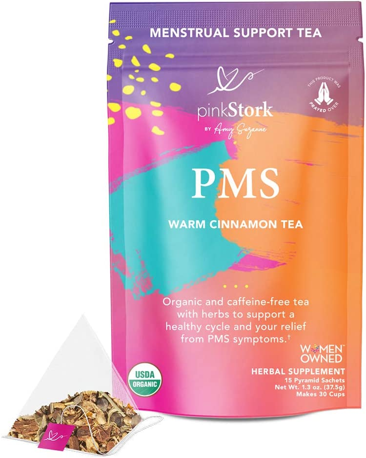 Pink Stork PMS Tea: Warm Cinnamon Tea, 100% Organic, Natural Period Relief from Bloating, Cramping, Heavy Flow, Nausea Relief, + Hormonal Migraine Relief, Women-Owned, 30 Cup: Health & Personal Care