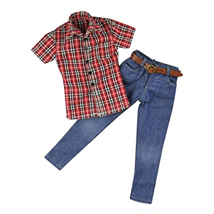 1//6 Red Plaid Shirt Jacket Male Clothes for 12 inch Men Action Figure Dolls