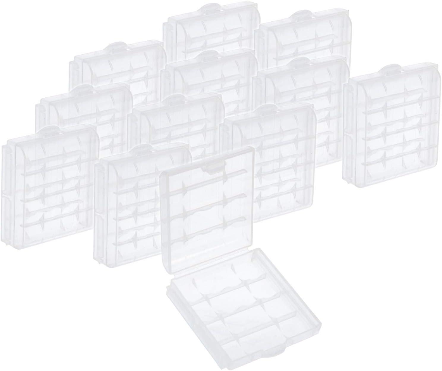 com-four® 12x Caja de batería de plástico - Caja de Almacenamiento para baterías y baterías Recargables - Caja de batería para AA y AAA (12 Piezas - Transparente)