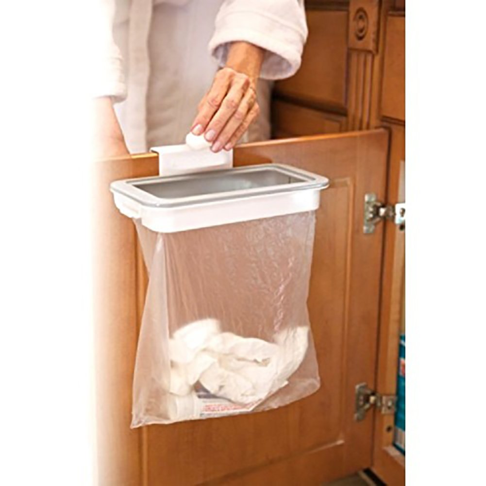 display08 Kitchen Cabinet Door Basket Hanging Trash Can Waste Bin Garbage Rack
