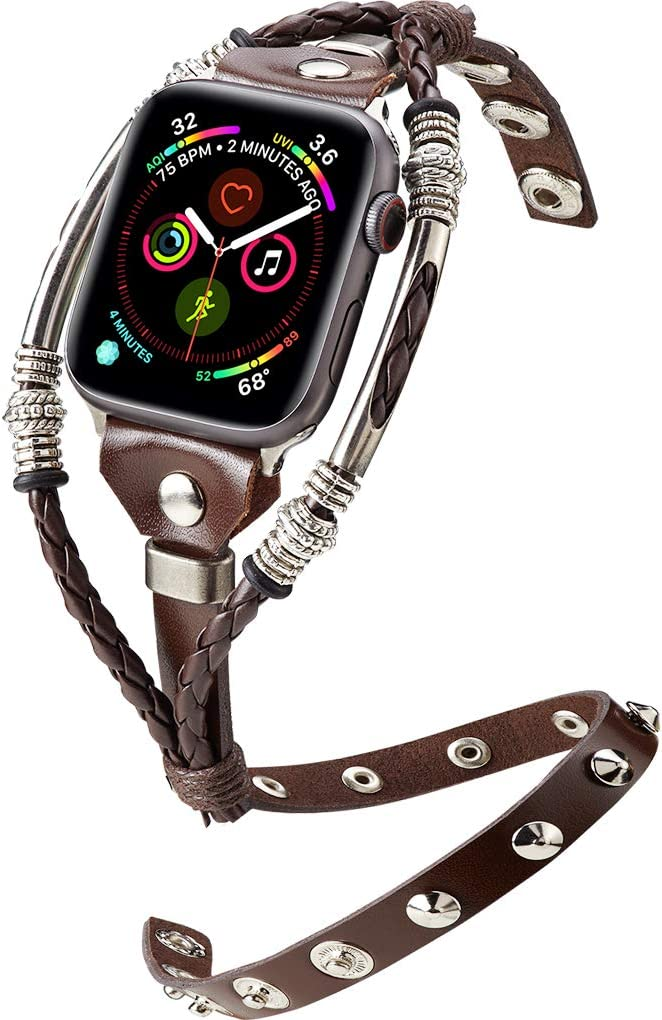 Marval.PCompatible for Apple Watch Band 40mm 44mm All Series 4,3,2,1 Double Tour Handmade Apple Watch 38mm 42mm Bands, Replacement Unique Bracelet Strap, Wristbands Wrist Band Straps for Women Men