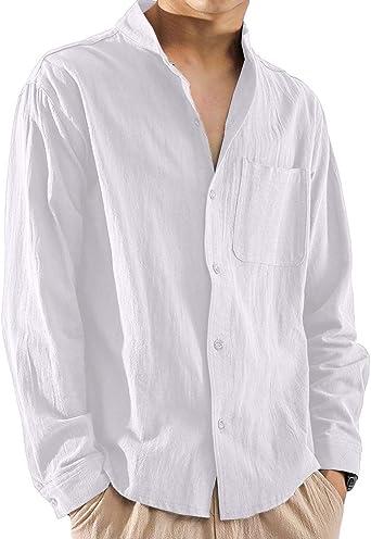 Camisa para Hombre Loose Fit de Manga Larga Camisa de Ocio Camisa 100% algodón Cuello Alto Vintage Casual Camiseta Elegante Verano Primavera Otoño Ropa para Hombres Tops: Amazon.es: Ropa y accesorios