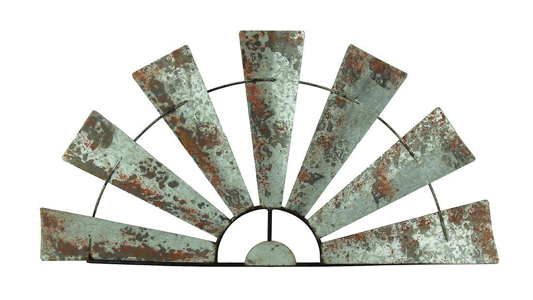 Special T Imports Galvanized Metal Half-Windmill Wall Sculpture (36'')