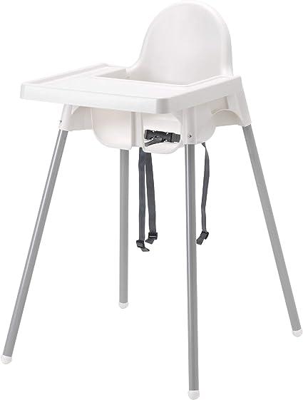 IKEA ANTILOP Chaise haute avec plateau, couleur argent