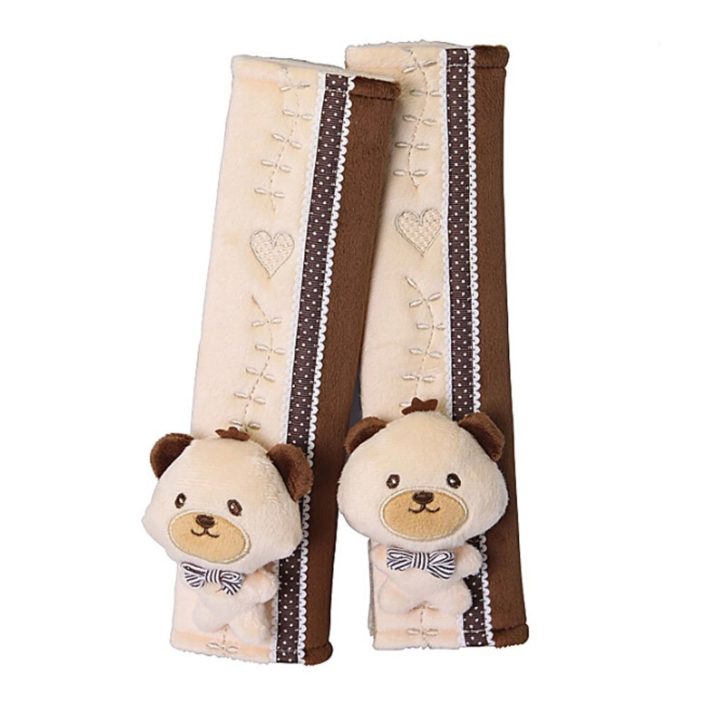 a Pair of Baby Kid Car Seat Strap Cover Toddler Infant Stroller Strap Cover BEAR Panda Superstore PS-BAB8446249011-CHILLY01074