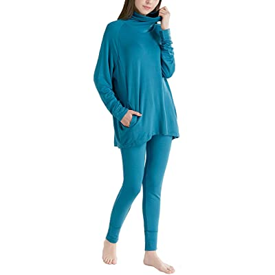 Ink+Ivy Long Sleeve Women Pajama Set - Comfy Pajamas for Woman, Solid Cowl Neck Shirts and Leggings Soft Lounge Wear at Women's Clothing store