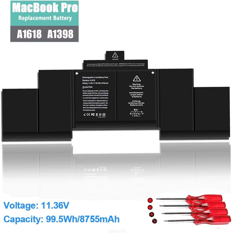 "A1618 Laptop Battery Replacement for A1618 MacBook Pro 15"" A1398 Retina (2015 Version), P/N 020-00079 MJLQ2LL/A MJLT2LL/A"