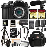 Panasonic LUMIX DMC-GH4KBODY DSLM Mirrorless 4K Cinematic Camera Body Only + 2 Transcend 64GB + LED Light Flash Kit + Polaroid 72