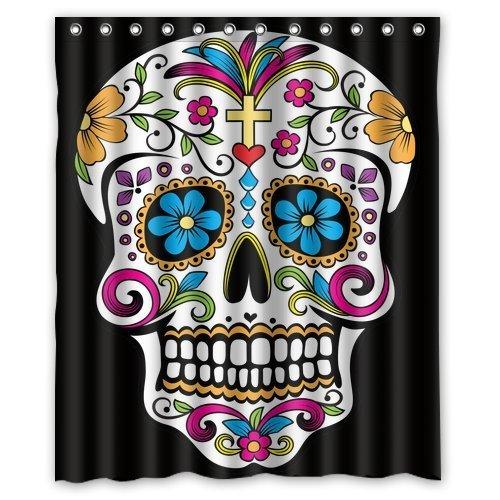 Custom Waterproof Bathroom Sugar Skull T Shower Curtain Polyester Fabric Shower Curtain Size 60 X 72]()