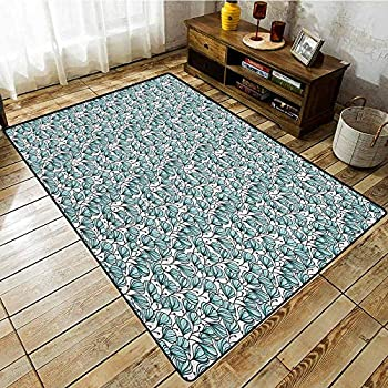 Image of Indoor/Outdoor Rug,Floral,Doodle Style Flowers with Petals in Blue Tones Bedding Plants Garden Art,Anti-Slip Doormat Footpad Machine Washable Seafoam White Black