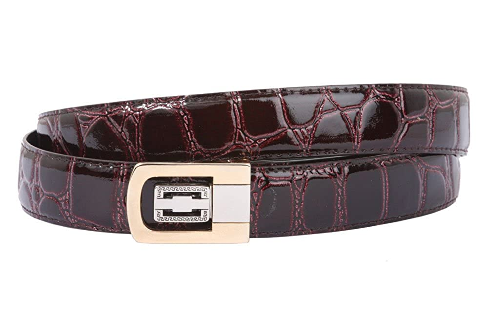 Clamp On One Size Fits All Croco Print Patent Faux Leather Belt