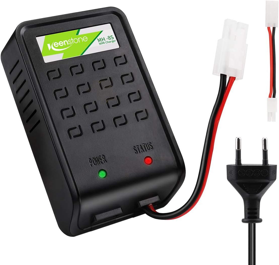 Keenstone Cargador Airsoft, con Conector Mini Tamiya y Adaptador estándar de Tamiya para 1-8s NiMH, baterías Airsoft 1.2V 2.4V 3.6V 4.8V 6V 7.2V 8.4V 9.6V (batería) (Cargador Airsoft)