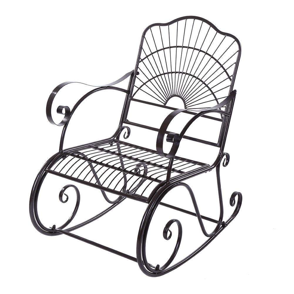 Iron Rocking Chair Single Chair Antique in Outdoor Patio Backyard Single Chair Park Porch Rocker Chair Deck Seat by EBTOOLS