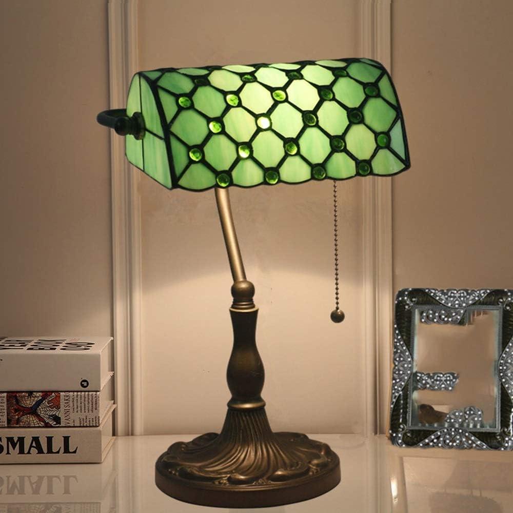 Escritorio Lámpara LED abeja europea retro del metal de bronce accionado por cable lámpara de mesa de la sala dormitorio de noche Escritorio del estilo de Tiffany American Retro porche de cristal verd