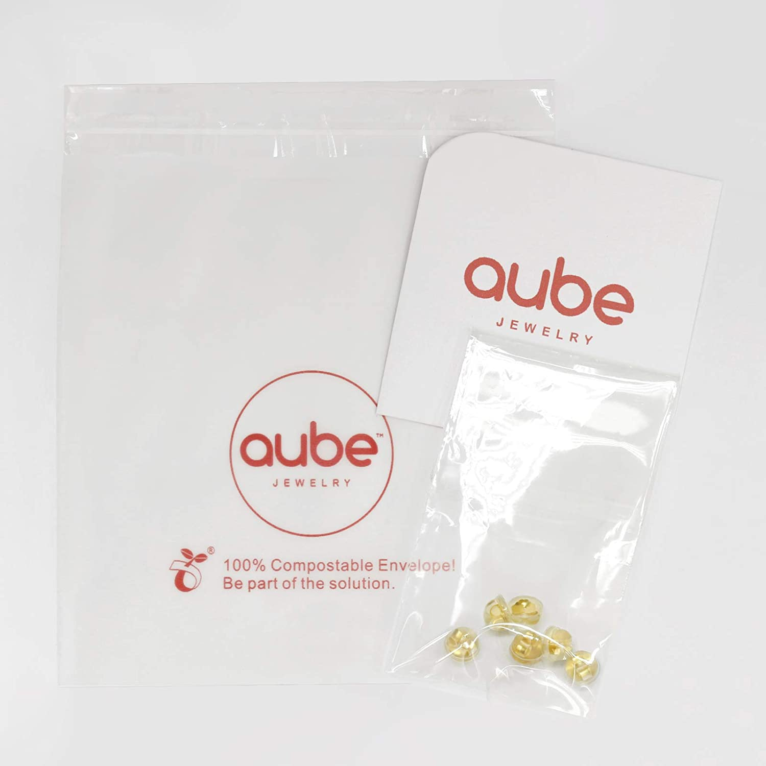 AUBE JEWELRY Hypoallergenic 14K Gold Plated 925 Sterling Silver Earring Backs Coated with Soft Clear Silicone 3 Pairs